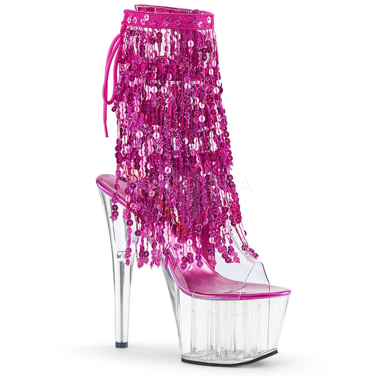 Pleaser Women's Ado1017sqf/c-s/c Ankle Bootie B01N38LDJ6 8 B(M) US|Clr-h. Pink Holo/Clr