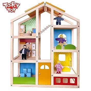 Tooky Toy Spielzeug Holz Puppenhaus Mit Puppen Und Zubehör   22 Teilig Für  Garantierten