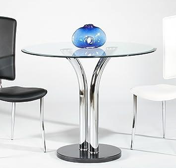 Amazon Com Milan Tina Clear Round Glass With Beveled Edge Bistro