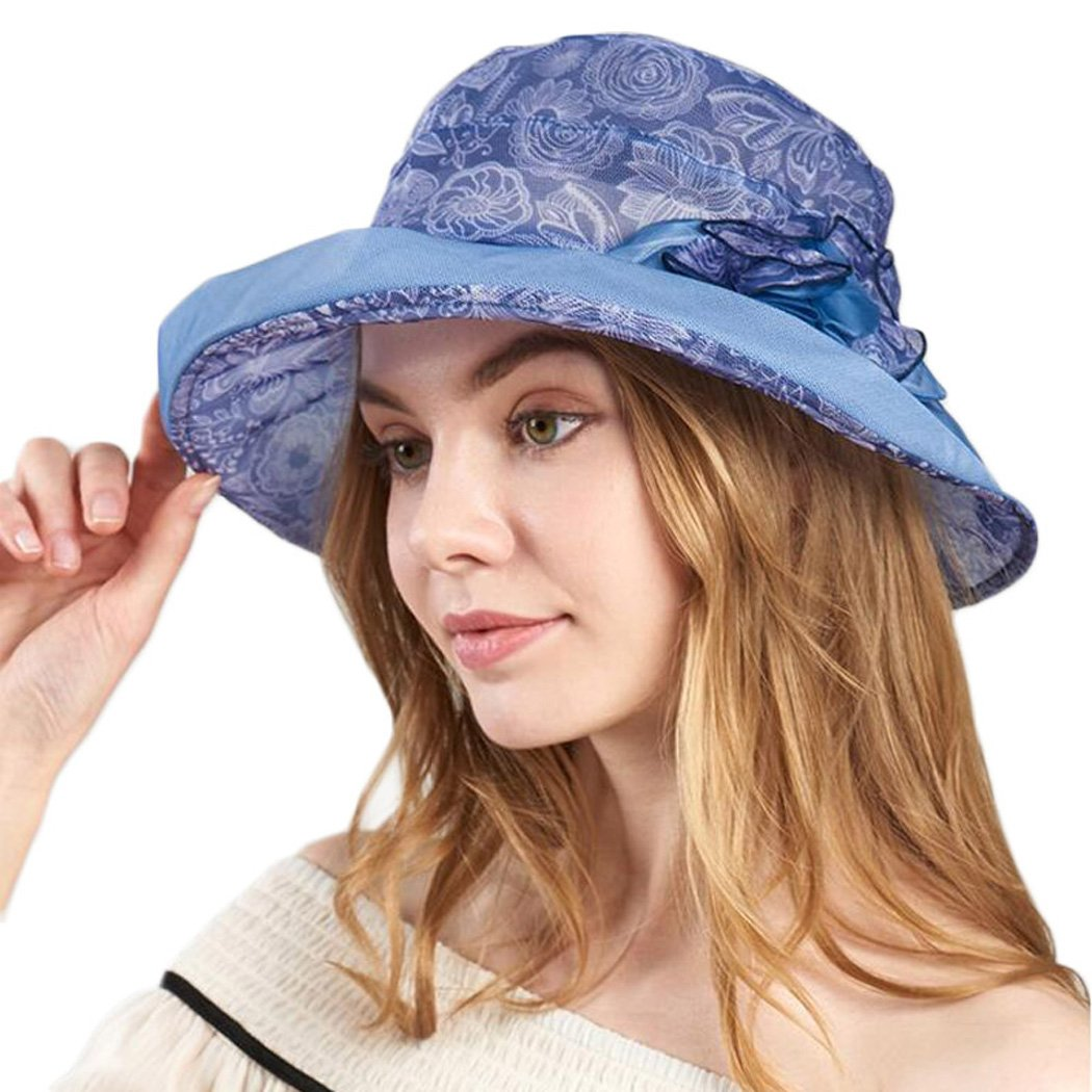 Womens Fascinator Summer Silk Fedora Short Brim Windproof Sun Hat