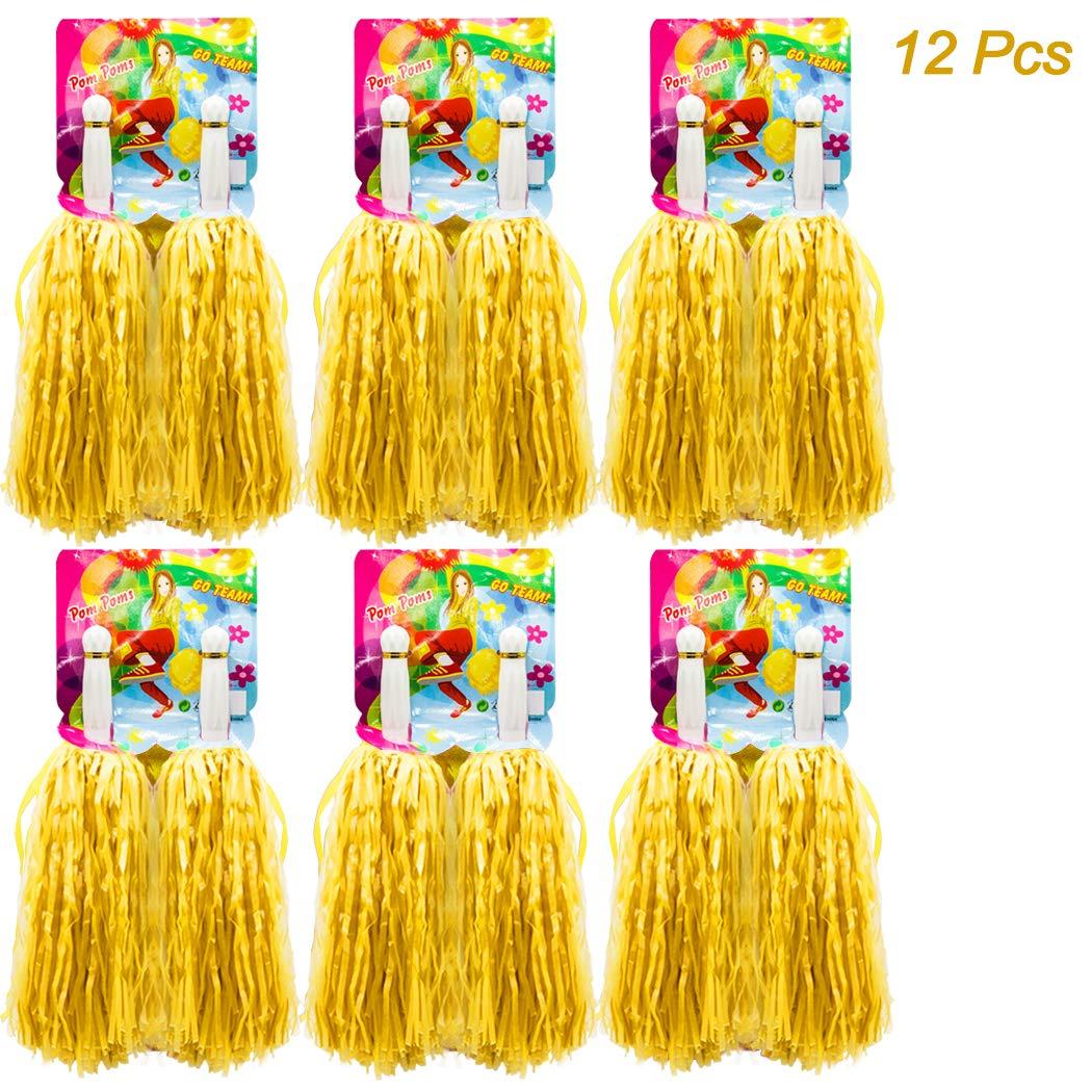 12 Piezas de Pompones para Animadoras de Primera Calidad, Hatisan-Pro Cheerleader Pompoms de Plástico para Deportes Aclamaciones Baile de Baile Disfraces Fiesta Nocturna12 Piezas de Pompones para Animadoras de Primera Calidad, Hatisan-Pro Cheerleader Pompo