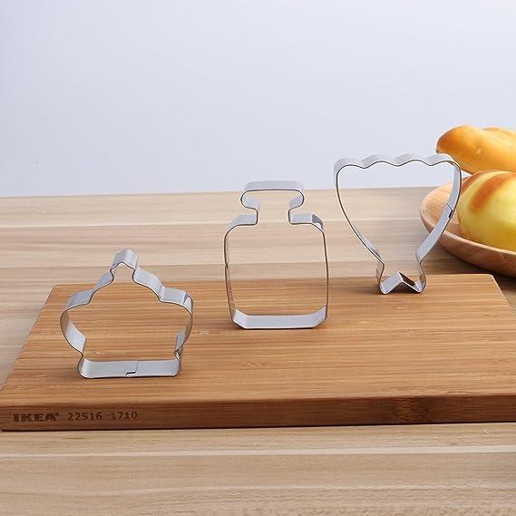 BESTOMZ 10pcs Kit de cortadores de galleta cortadores de pastel de acero inoxidable cortador de pastel Moldes para hornear conjunto para niños fiesta ...