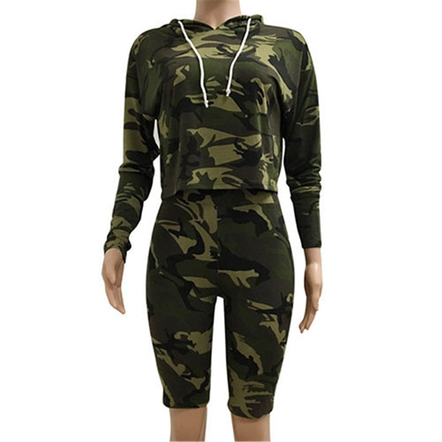 Casual Style 2 Piece Hoodies Jumpsuit Camouflage Women Jumpsuit Army Green S