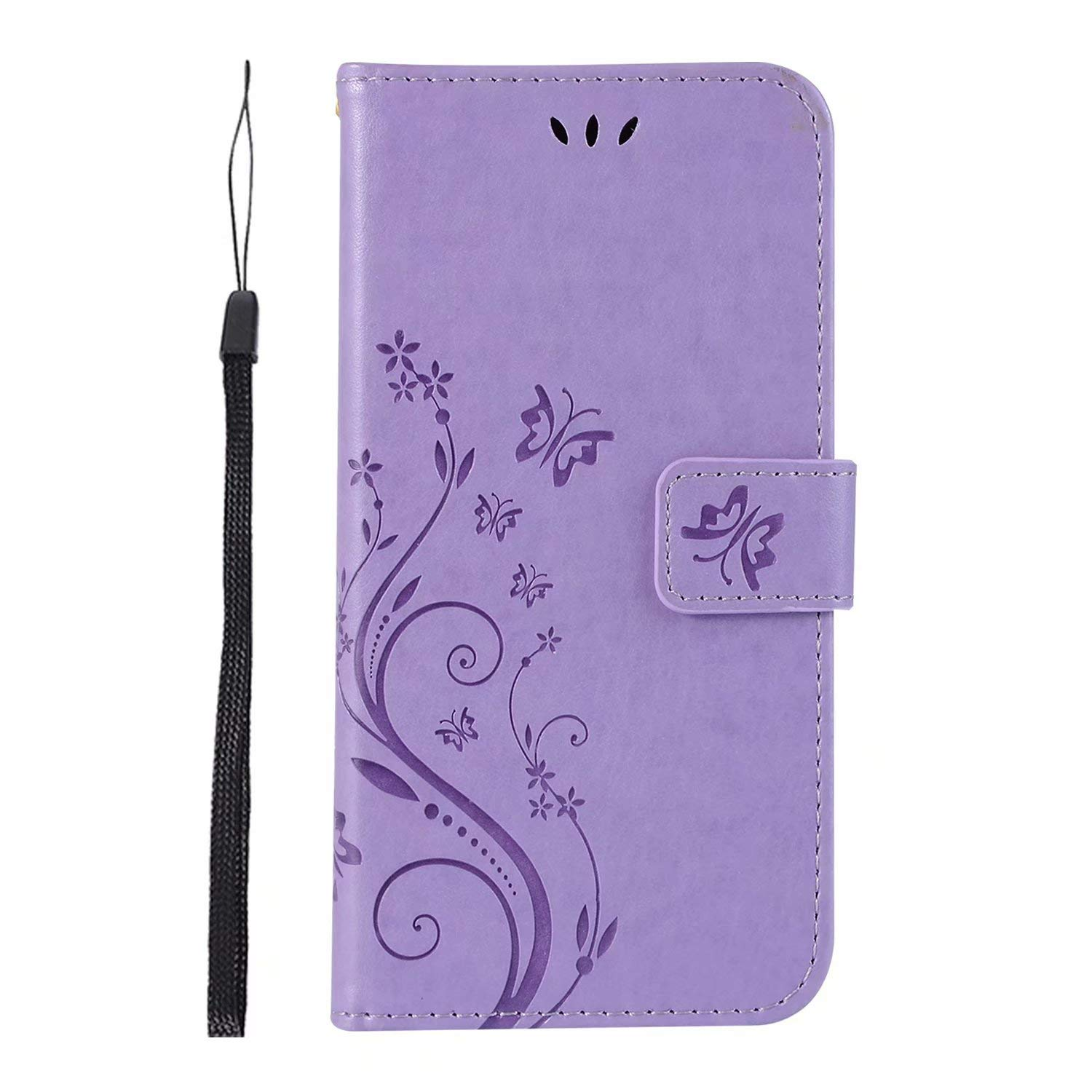 Wallet Case for Samsung Galaxy A8 2018/A530/A5 2018, Beautiful Book Style 3 Card Holder Embossed Butterfly Flower PU Leather Magnetic Flip Cover for Samsung Galaxy A8 2018 (Light Purple) BTJP