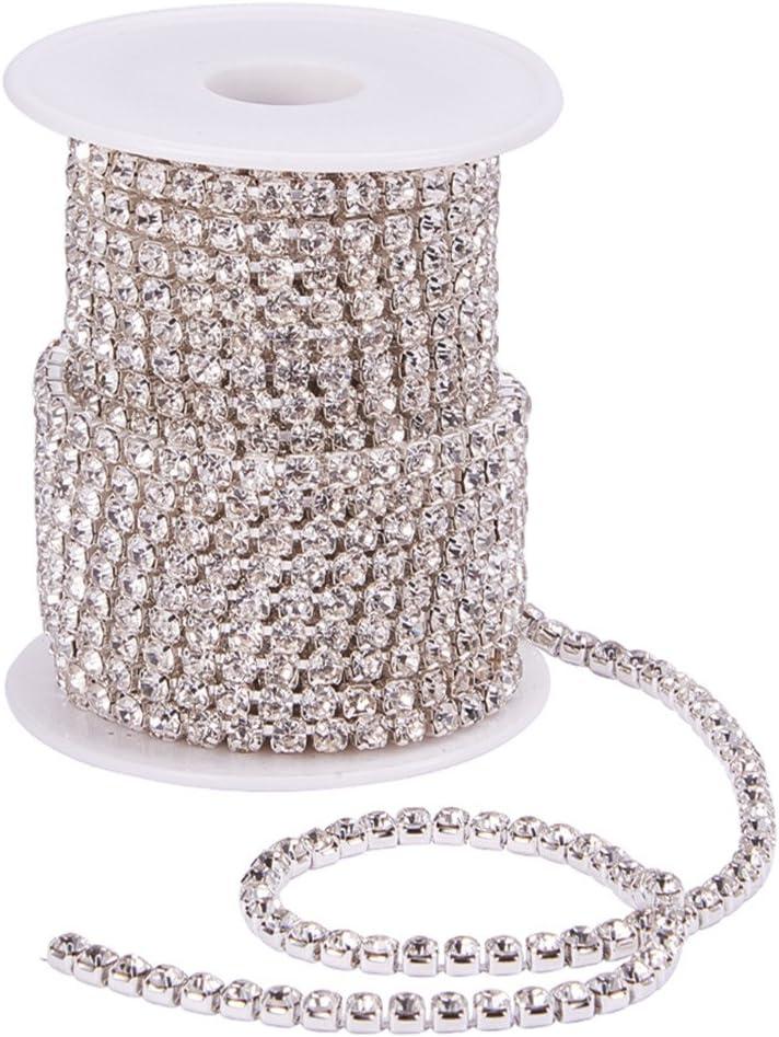 BENECREAT 9.14m 4mm Crystal Rhinestone Cerrar Cadena de Recorte Claro Cadena de Costura Artesania sobre 1965pcs Piedras Strass - Cristal (Fondo de Plata)