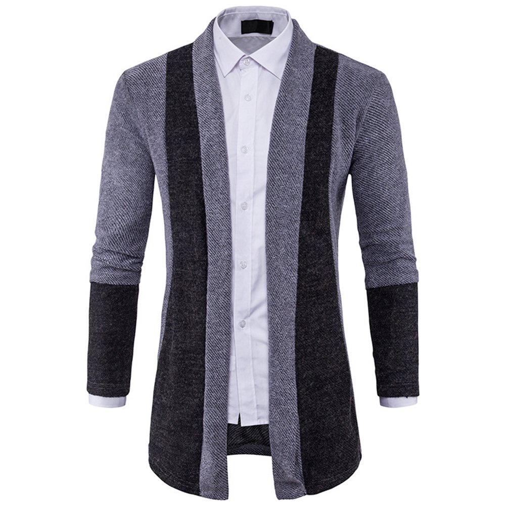 PinShang Men Sweater Stitching Hit Color Knitwear No Button Cardigans Tops at Amazon Mens Clothing store: