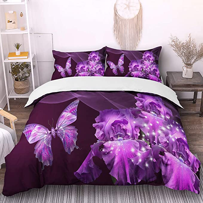 WINLIFE Dream Purple Butterflies Pattern Bedding Duvet Cover Set Aesthetic Scene Home Decorative Bedding Sets with Pillowcases Full 3-Pieces