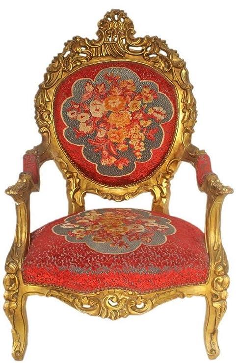 Casa Padrino Sillón de Trono Barroco Rojo Patrón Floral/Oro ...