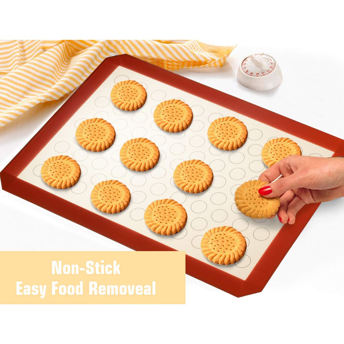 Wildone Baking Sheet with Silicone Mat Set, Set of 6 (3 Sheets + 3 Mats), Stainless Steel Cookie Sheet Baking Pan with Silicone Mat, Non Toxic & Heavy Duty & Easy Clean by Wildone (Image #5)