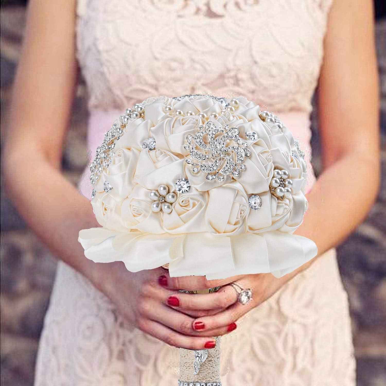 Wedding Bridal Bouquet, Elegant Handmade Rhinestone Stunning Tassel Artifical Pearls White and Ivory Rose Flowers Bridesmaid Bouquets (B)