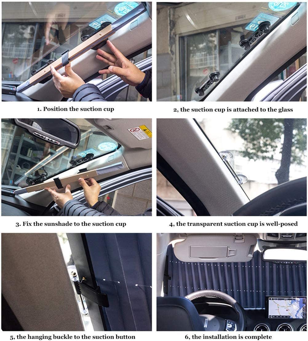 PXQ Car sun screens Automatic Telescopic Foldable Heat Insulation Suction Cup Type Cooling Visor Suitable For Almost All Cars,80CM