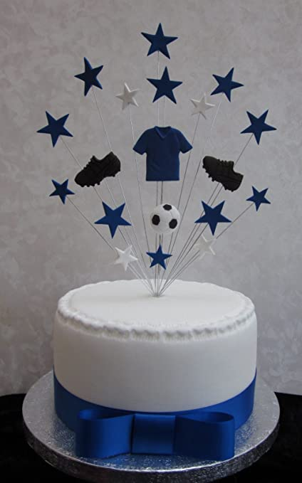 Chelsea Everton Football Birthday Cake Topper Suitable For A 20cm PLUS 1 X Metre 25mm Royal Blue Satin Ribbon Plus Bow Amazoncouk Kitchen Home