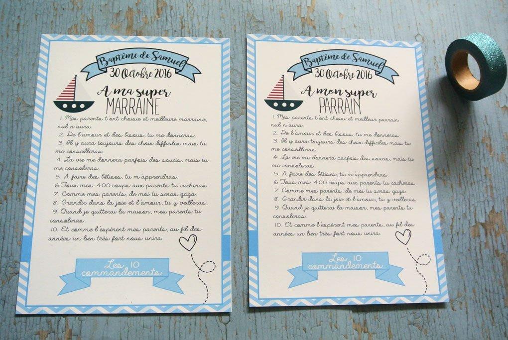 2 grands cartes les 10 commandements du parrain et de la marraine thème Bateau