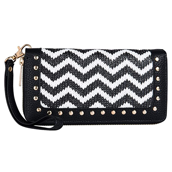 Amazon.com: Women Wave Pattern Wallet Double Zip Around ...