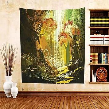 Amazon.com: Gzhihine Custom tapestry Fantasy Decor Tapestry Forest ...