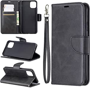 iPhone 11 Pro Max Case Stylish Pure Color Wallet Case PU Leather Magnetic Flip Cover Shock Resistant Flexible Soft TPU Slim Protective Bumper Card Slots Kickstand Lanyard for iPhone 11 Pro Max Black