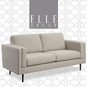 """Elle Decor Simone Living Room Sofa Couch, Mid-Century Modern Velvet Fabric Loveseat for Small Space, 73"""", Cream"""