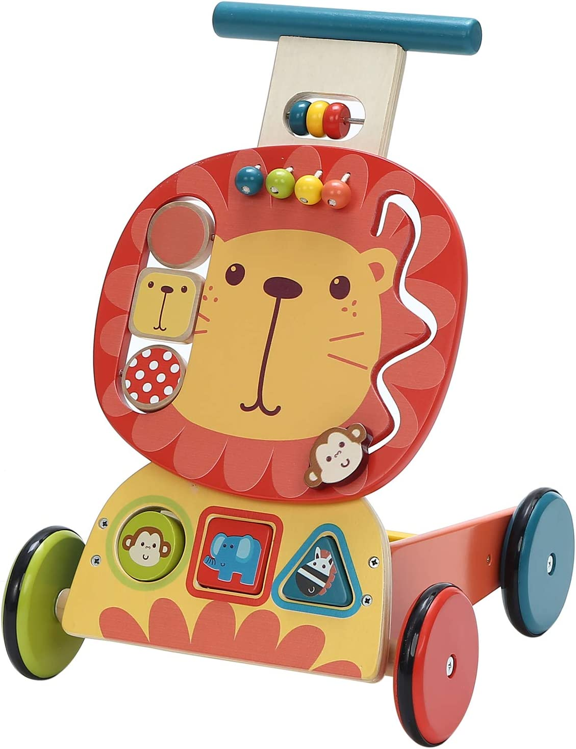 labebe - 4 Wheels Walker for Baby, Wooden Push Wagon Toy for 1-3 Years Old Girl/Boy, Toddler/Kid Push Toy Cart for Walking, 2-in-1 Toy Shopping Cart, Outdoor Activity Walker for Infant - Yellow Lion