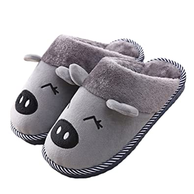 5b159930a794 Womens and Mens Indoor Warm Fleece Slippers Cute Cartoon Pig Winter Soft  Cozy Booties Non-