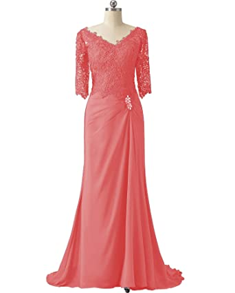 92e4f81734 Women s Lace Chiffon Formal Bridesmaid Mother of Bride Groom Dress Plus  Size for Evening Wedding(