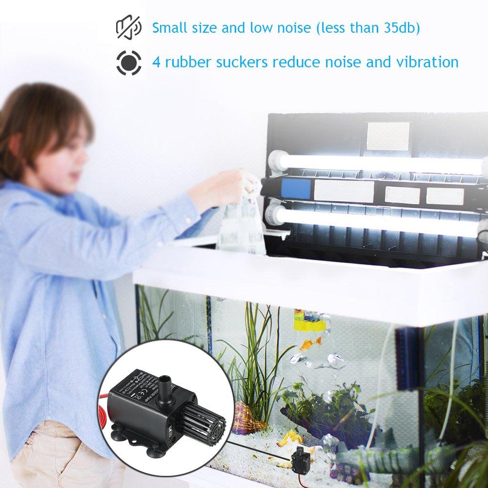 Decdeal Mini Brushless Water Pump DC12V 5W Ultra-quiet Waterproof Submersible Fountain Aquarium Circulating 280L//H Lift 300cm