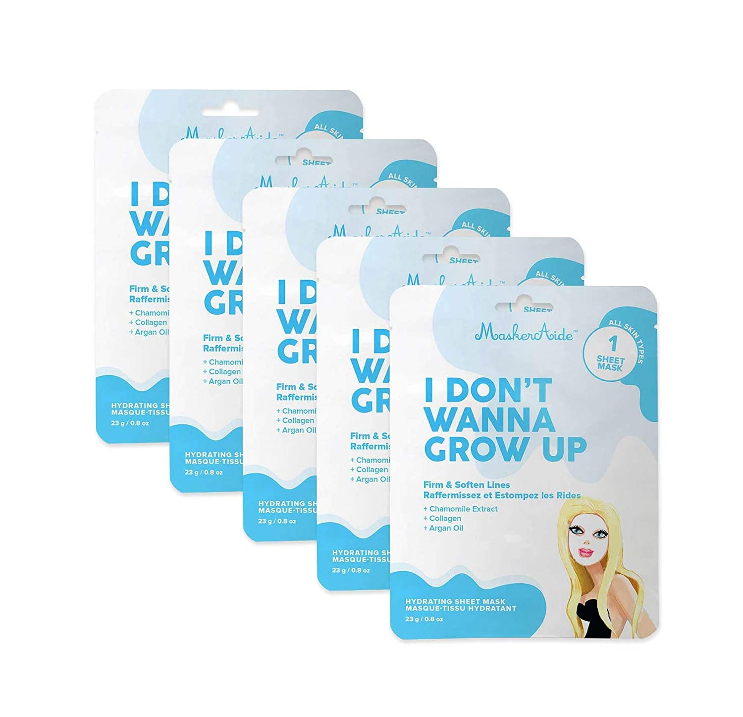 MaskerAide I Don't Wanna Grow Up Firming Face Mask with Hydrolyzed Collagen, Hydrolyzed Elastin, Natural Ylang-Ylang Oil & Vitamin E, Firm & Soften Lines, Cruelty Free, Korean Skincare, 5 Pack