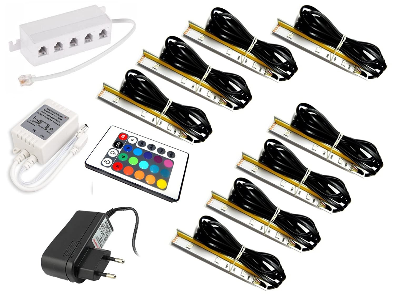 1er Set LED Chrom-Unterbauleuchte 16 LEDs kaltweiß mit Netzteil Unterbaustrahler