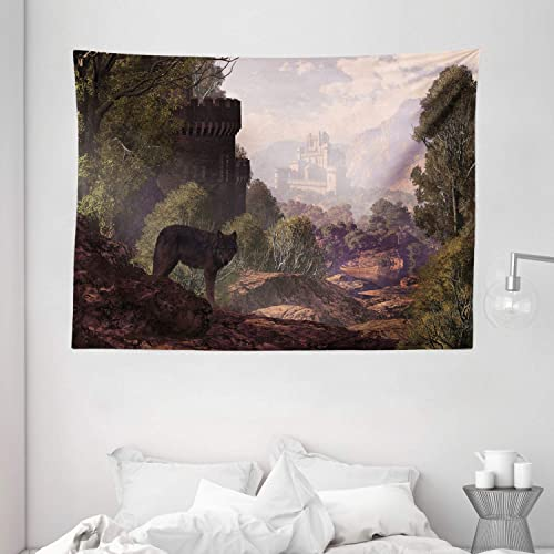 Ambesonne Woodland Tapestry, Wolf Coming Out of The Woods Gothic Castle Lake Boat Off in Distance, Wide Wall Hanging for Bedroom Living Room Dorm, 80 X 60 , Green Stone
