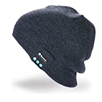 Hebey Wireless Bluetooth Music Hat with Stereo Headphone Speaker Hands-free Talking MP3 Knitting Warm Winter Bluetooth Headset Hat for Outdoor Sports Walking as Christmas/Birthday Gifts (Dark Gray)