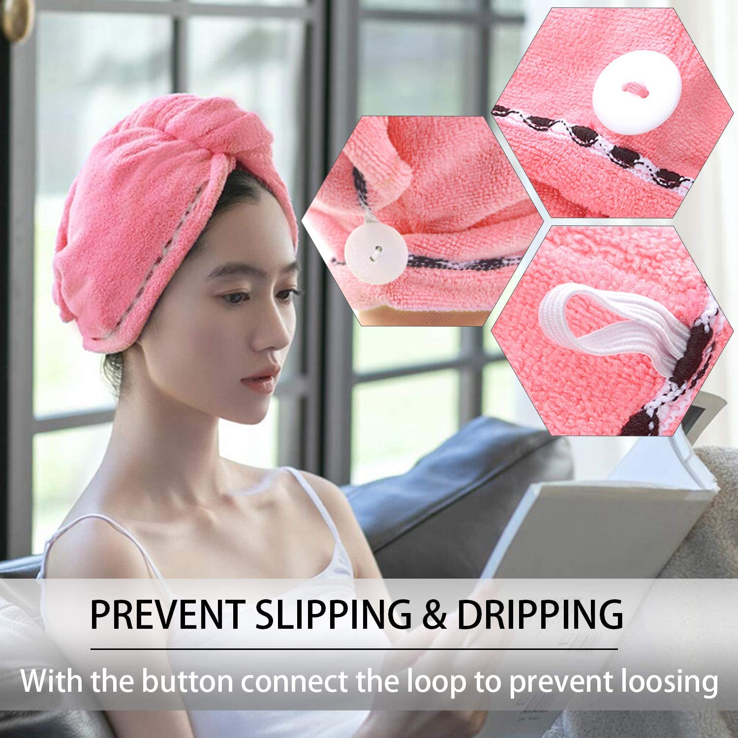 Pink Deeplow Hair Towel Wrap Bath Head Turban Girl Spa with Button Loop Microfibre Absorbent Quick Drying Hair Cap Bathing Towels to Long Curly Hair for Women Shower Dry Hat Lady