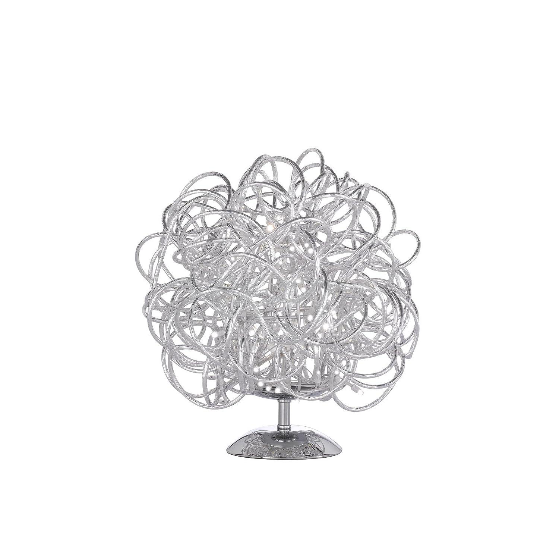 WOFI Tischleuchte, Aluminium, Integriert, 10 W, Silber, 30 x 30 x 27 cm