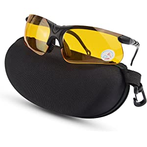 Polarized Sports Sunglasses /& Eyeshield HD Vision Night /& Tactical Glasses UV400 HD Night Vision Glasses /& Lightweight Tactical Eyewear Shooting Safety Glasses