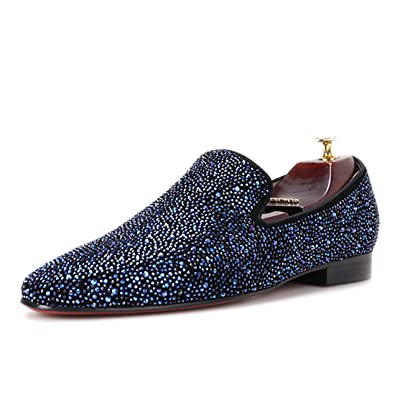b582db3128f HI HANN Men Leather Shoes with Mixed Colors Rhinestones Men Dress Loafers  Casual Smoking Slippers -6