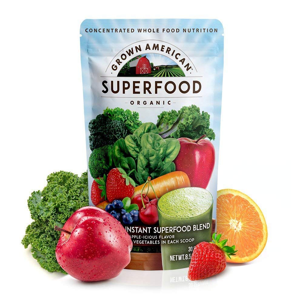 Grown American Superfood 31 Organic Whole Fruits and Vegetables Concentrated Green Powder Increase Energy and Performance Packed with Antioxidants 100% Certified Organic and Vegan Non-GMO by GA Grown American