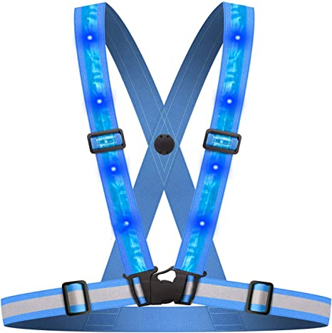 Adjustable Portable Reflective Vest Straps Jacket Night Running Cycling Sport Wo
