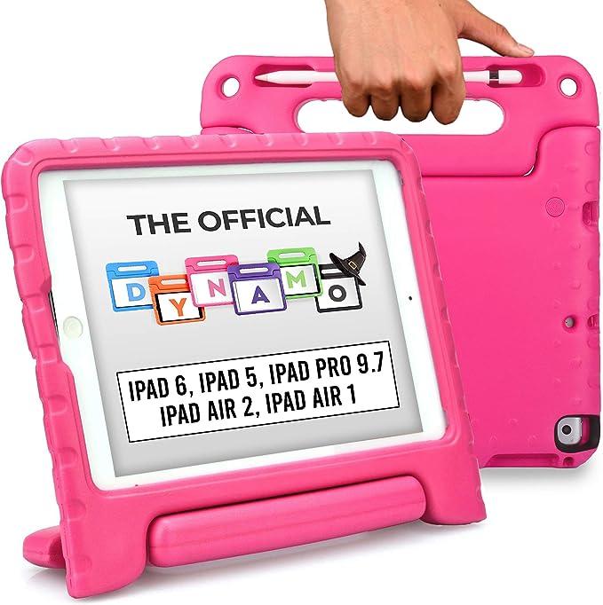 Cooper Dynamo Funda para iPad 6, 5ª generación/iPad Pro 9.7/iPad Air 2, 1   Cubierta, Soporte, Mango, Ranura de Almacenamiento para lápiz (Rosa)