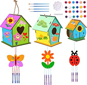 U-Goforst 3 Pack DIY Bird House & 3 Pack Wind Chime Kits, Build and Paint Birdhouse, Wooden Arts Crafts Backyard Birdhouse Kit for Children, Teens, Boys and Girls (Paints & Brushes Included)