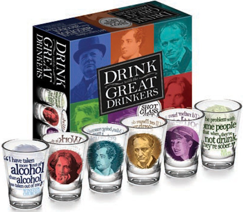 Great Drinkers - 6 Piece Shot Glass Set of Famous Literary Lushes - Comes in a Colorful Gift Box 0034