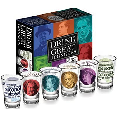 Great Drinkers - 6 Piece Shot Glass Set of Famous Literary Lushes - Comes in a Colorful Gift Box