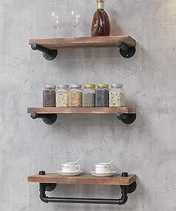 Industrial Retro Wall Mounted Iron Water Pipe Shelf/Bookcase/Shelving – Floating Shelves - Hung Bracket - DIY Storage Bookshelf – Wood Shelf - Towel Bar Hanging Storage Racks (3-tier floating shelves)