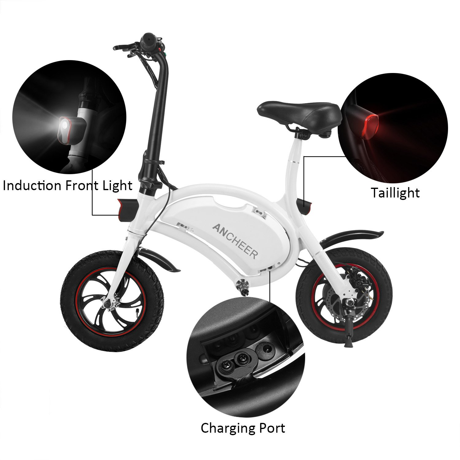 REVIEW ANCHEER Folding Electric Bicycle E-Bike Scooter 350W Powerful Motor Waterproof Ebike with 12 Mile Range, APP Speed Setting | Electric Bike in Seattle WA 71WZ2C8AkUL._SL1500_