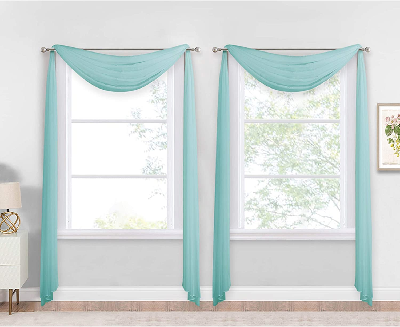 NICETOWN Pool Blue Decorative Window Scarfs, Fresh Color Chic Voile Sheer Curtains Flexible Valances for Beach House & Nursery Decor, Set of 2, W60 x L216