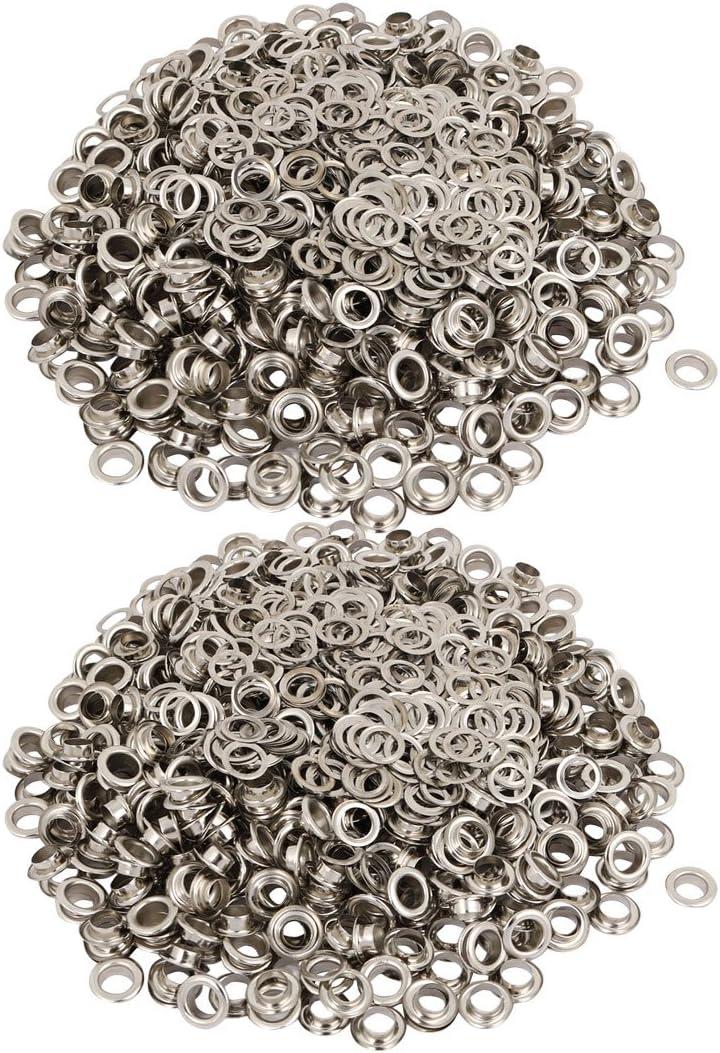 sourcing map 1000 piezas Ojales Juegos con arandela de 6mm interior diámetro hierro niquelado ojal