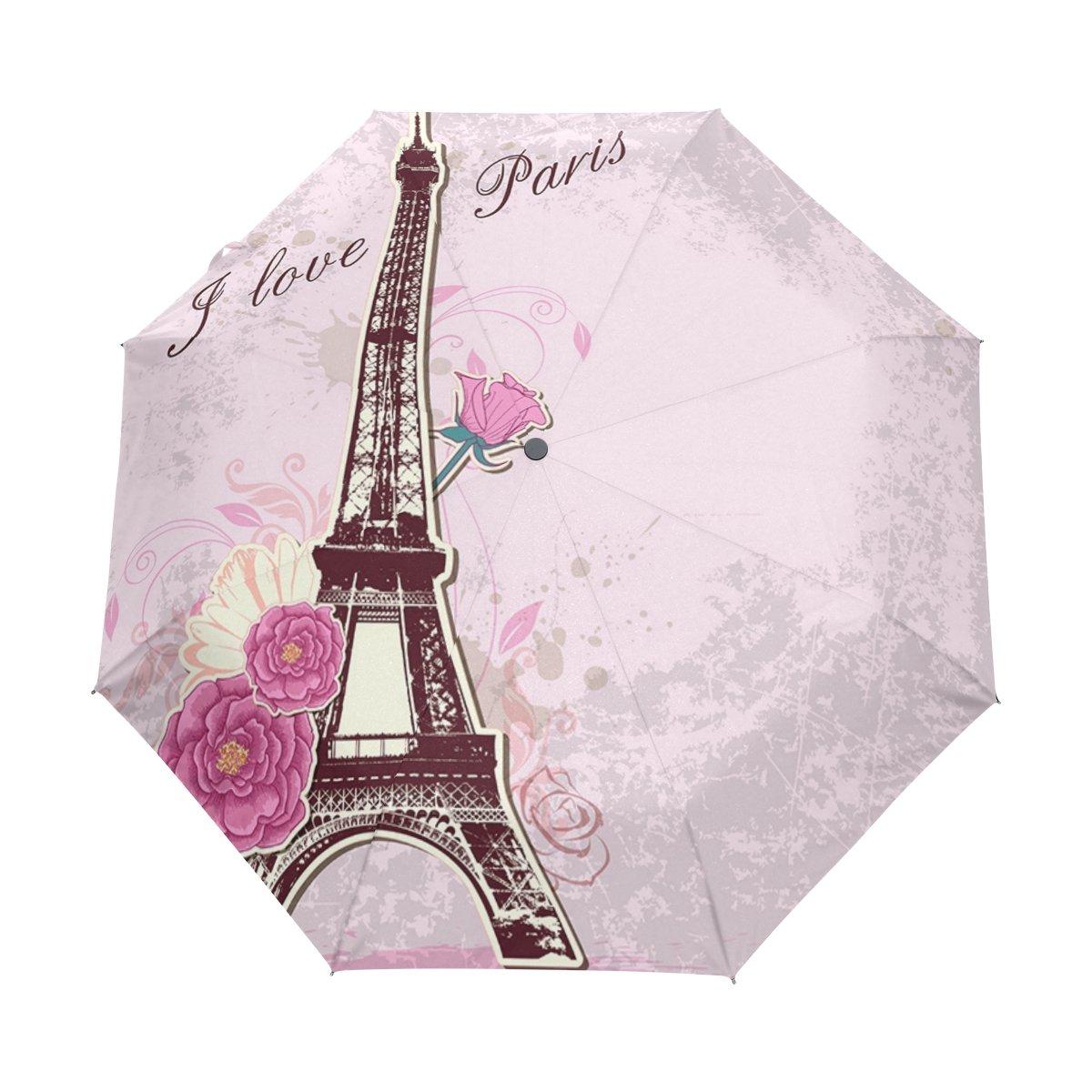 U LIFEロマンチックエッフェル塔Paris Roses Auto Open Close傘アンチUV折りたたみコンパクト自動傘   B07DFFG686