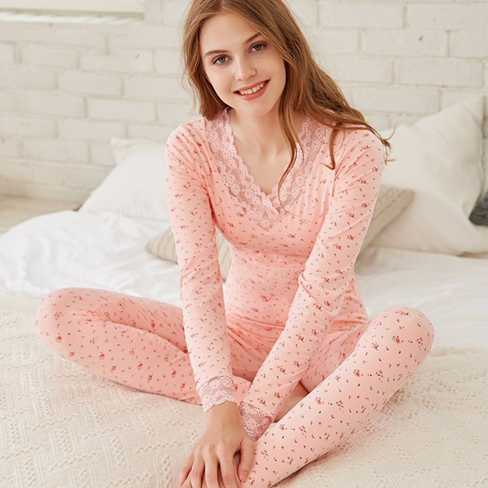 415603e85b08 Amazon.com: LVLIDAN Thermal Underwear winter feminine Cotton thin Slim Fit  pink M: Sports & Outdoors