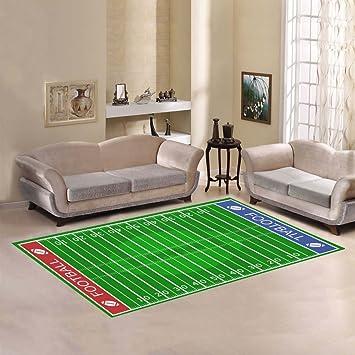 InterestPrint American Football Field Area Rugs Carpet 7 X 5 Feet, Green  Sport Field Modern