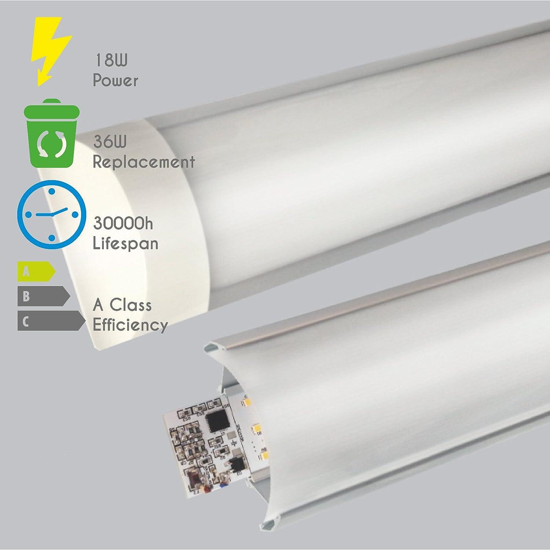 6000-6500K blanc froid LED /éclairage pour un usage commercial ou r/ésidentiel LEDUS LED R/églette Plafonnier 18W 60cm Large tube de lumi/ère /à profil bas