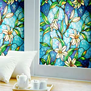 """Ablave Stained Glass Window Film Decorative Privacy Window Film Frosted Window Film Window Clings No-Glue Self Static Cling for Home Bedroom Bathroom Kitchen Office 35.4""""x78.7"""""""