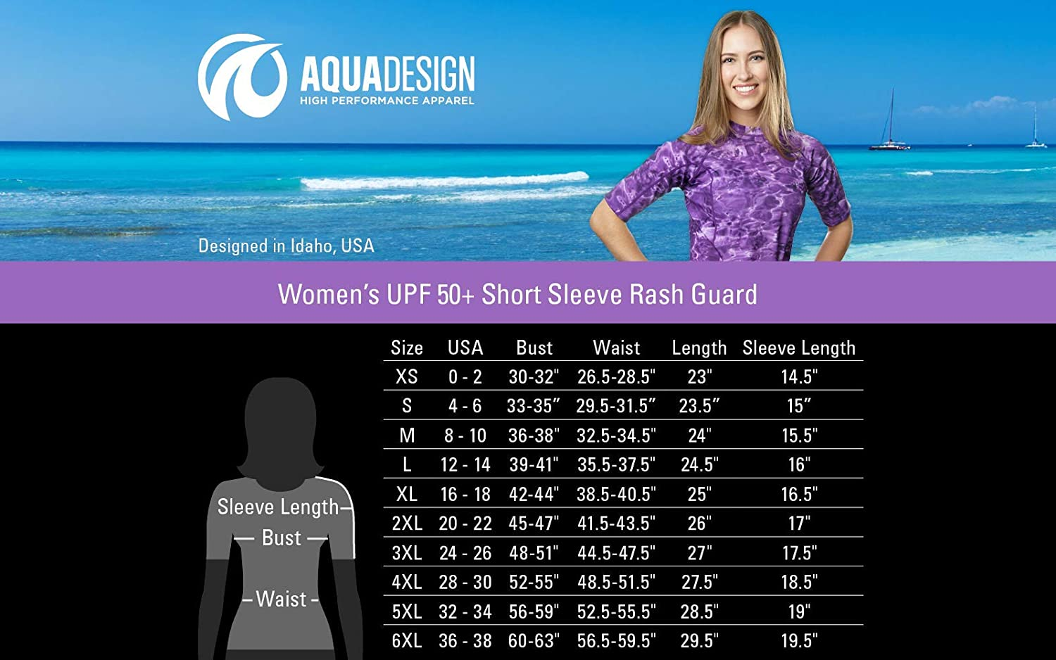 4f7b391f211da Aqua Design Rashguard Swim Shirts for Women Short Sleeve UV Rash Guard  Shirt at Amazon Women's Clothing store: