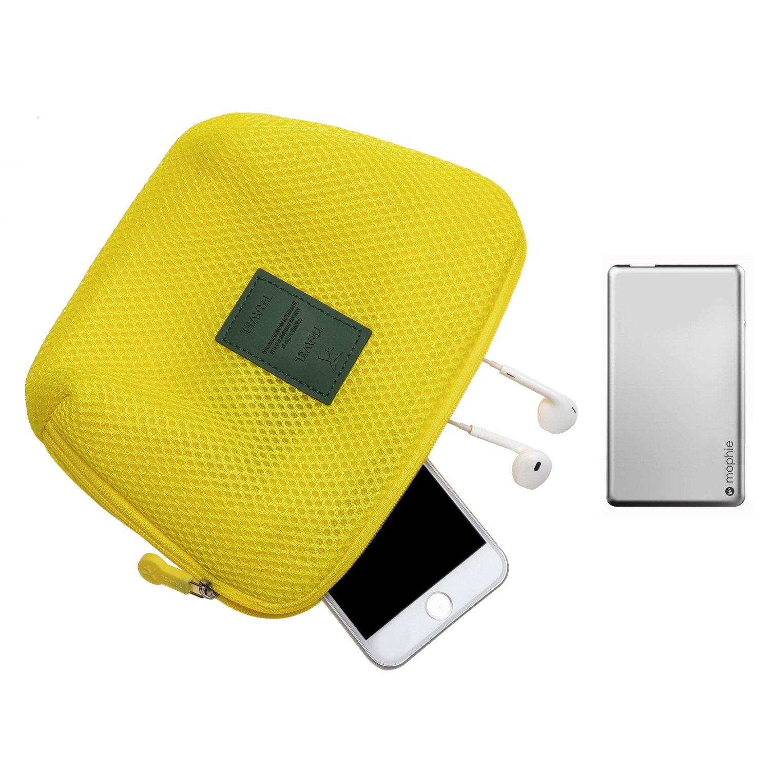 Travel Universal Organizer Bag / Electronics Accessories Case Packing Storage Bag, Multifunctional Shockproof Makeup Pouch, Gadget Bag, Data Cable Travel Case With Mesh (Size M, Yellow) - Happy Hours
